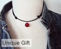 Red Glass Bead Necklace ~ Unique Gift ~ Bead Choker ~ Red and Black Necklace ~  Red Bead Necklace ~ Adjustable Choker Necklace