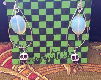 Bubble Goth/Pastel Goth/Space Grunge Skull and Moonstone Earrings
