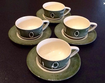 Vintage 8Pc Colonial Homestead Tea Cups <> 4 Cups & 4 Saucers 1750s Design <>Royal China 1950s <> EXCELLENT CONDITION