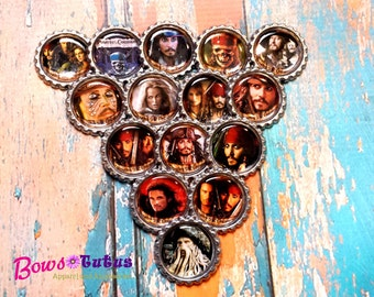 """SET of 15 1"""" Pirates of the Caribbean Bottle Cap Center - Crafting Supply"""