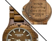 Handcrafted Mens Wood Watch Made From 100% Natural Walnut Wood. FREE Custom Engraving!