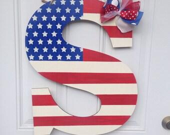 Patriotic door hanger, 4th of July door hanger, letter door hanger, american flag door hanger, initial door hanger