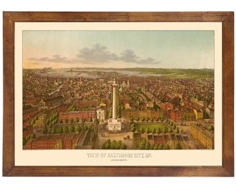 Baltimore City, MD 1872 Bird's Eye View; 24x36 Print from a Vintage Lithograph