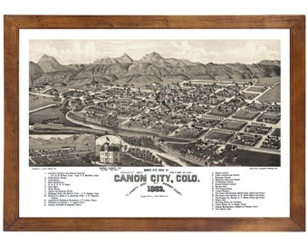 Canon City, CO 1882 Bird's Eye View; 24x36 Print from a Vintage Lithograph