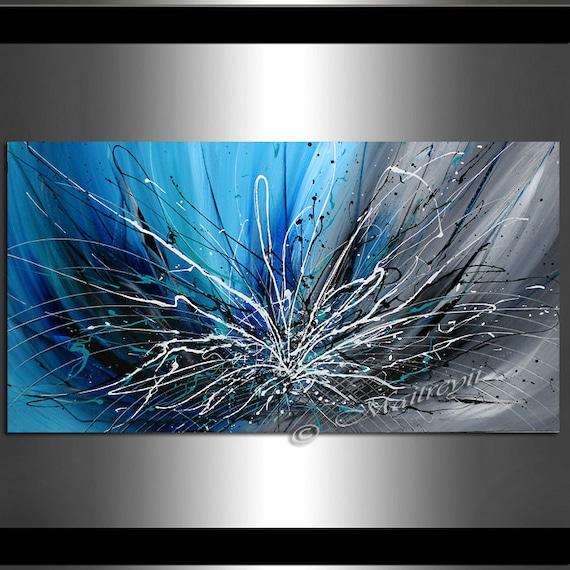 Art mural bleu abstrait peinture sur toile art abstrait uvre for Peinture abstraite moderne