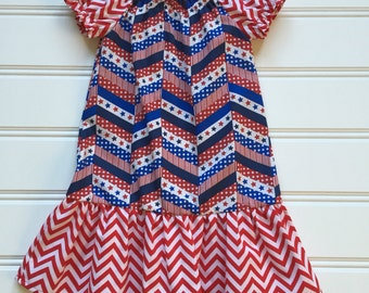 Red White Blue Dress, Stars and Stripes Dress, Girls Patriotic Dress, 4th of July Dress, Fourth of July Dress, 4th of July Outfit