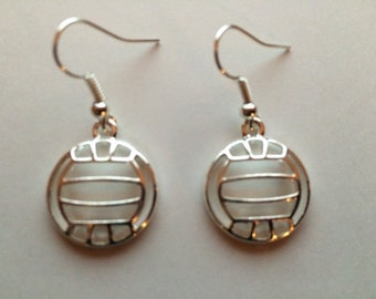 Volleyball earrings with charms in gold or silver plated metal on metal fish hook earring findings.