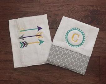 Burp Cloth. Baby Burp Cloths. Tribal Arrows/Cloth diaper Burp / grey and white polka dot/quatrefoil - set of two - Baby Shower- Baby Gift -