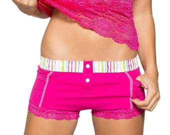 FOXERS Fuchsia Boxer Brief with Watercolors Band | Panties | FXBB-24125