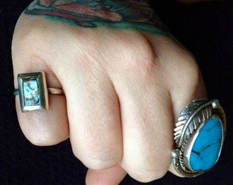 Vintage Mexican Taxco Abalone + Sterling Silver Ring Size 7