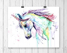 UNICORN PRINT, Unicorn art, Unicorn watercolour, little girls room, nursery art, princess decor, princess nursery, unicorn nursery