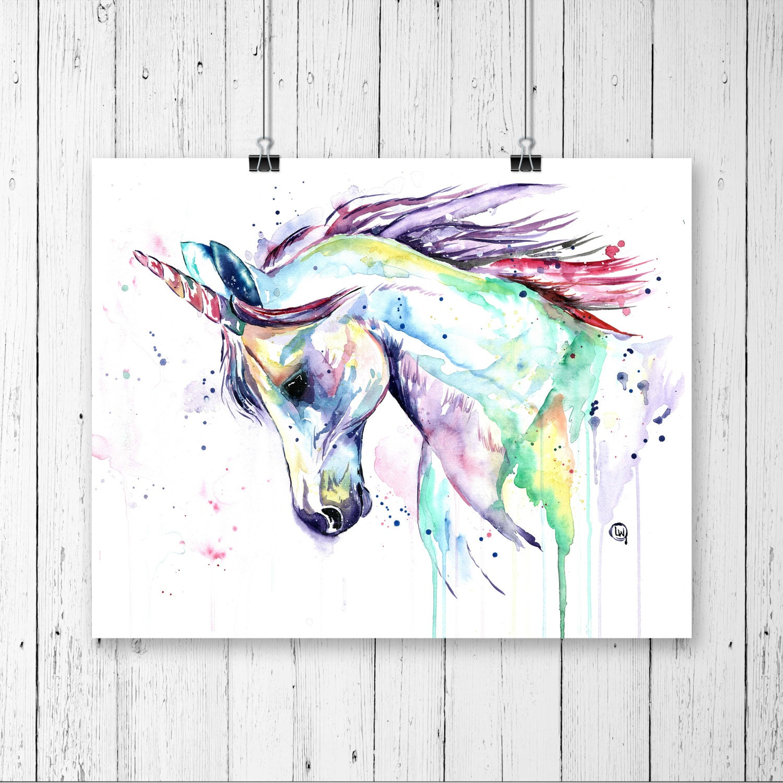 Unicorn Print Unicorn Art Unicorn Watercolour Little Girls Room Nursery Art