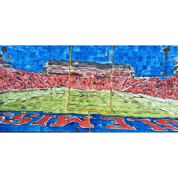 "University of Mississippi- Vaught Hemingway Stadium - Architectural Art: 10""x20"" Original Painting"