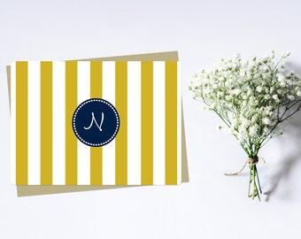 Yellow & Navy Stripe Monogram Stationary, Set of 25