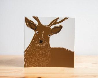 Deer Stag Illustration Blank Greetings Birthday Card