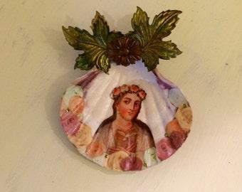 altered sea shell shrine - Virgin Mary shrine - mixed media shell art - Catholic shrine - home decor - trinket bowl - sacred art - reclaimed