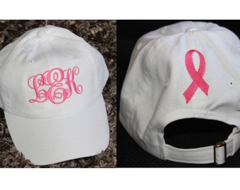Monogrammed Ball Cap With Embroidered Cancer Ribbon on Back