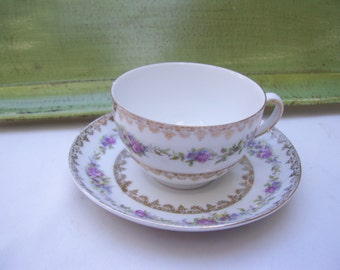 Floral Purple Pink Teacup Tea Cup Saucer