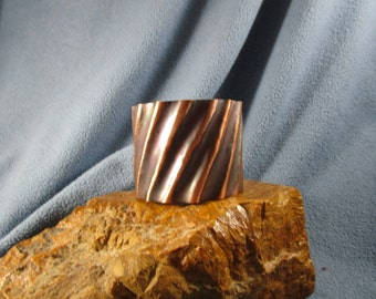 2 Inch Form Folded Copper Cuff Bracelet with Fluted Diagonal Lines and Patina