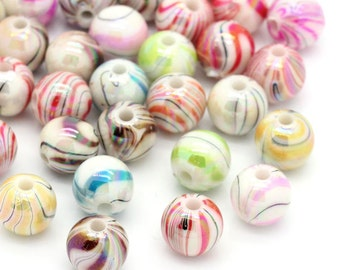 100 Assorted Acrylic Striped and Swirl Beads 8mm.  Ideal for jewellery, decoration,
