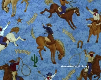 Cowboy Fabric, Northcott 4857 Rodeo Roundup, Cheri Strole, Rodeo Quilt Fabric, Western Quilt Fabric, Horses & Riders, Cotton