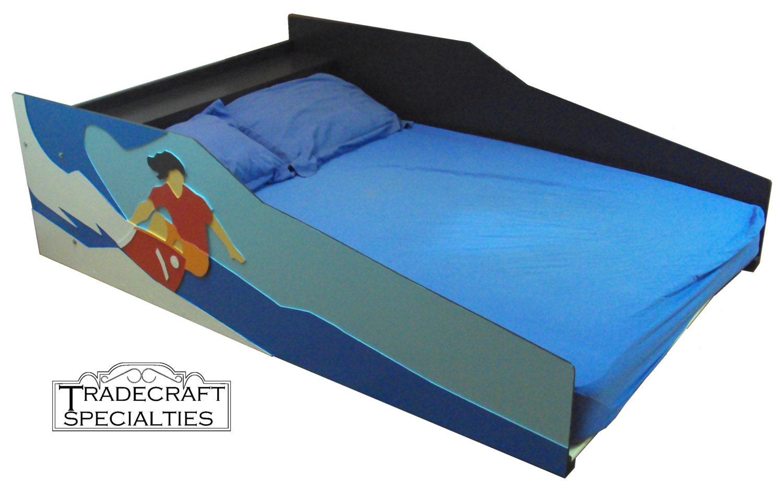 surfer themed kids full size bed frame handcrafted sports. Black Bedroom Furniture Sets. Home Design Ideas
