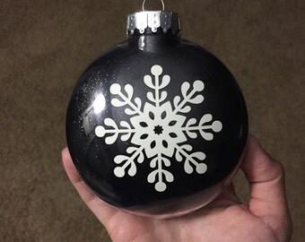 Large Hand Glittered Glow in the Dark Snowflake Ornament // Snowflake Ornament