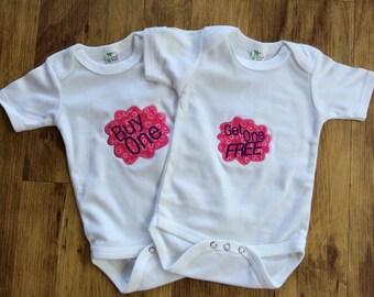 twin bodysuits, funny twin gift, cute twin bodysuits, twin outfits, girl twins