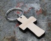 Maple or Walnut Wooden Cross Keychain Christian Gift