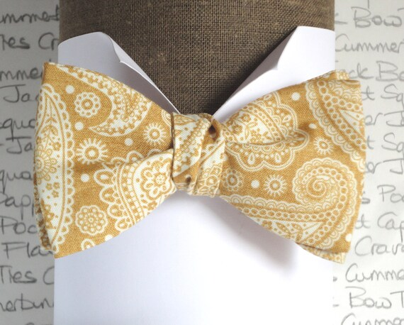 Self tie bow tie, gold paisley bow tie, bow ties for men, wedding bow ties, groomsmen bow tie