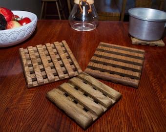 Wooden oak trivets, set of 3