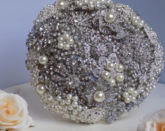 Silver and ivory brooch bouquet. Silver bridal bouquet. Brooch bouquet. Bridal bouquet
