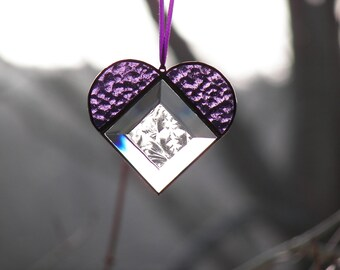 Stained Glass Bevel Heart Purple Suncatcher / Valentine Heart, Purple Heart Ornamnet