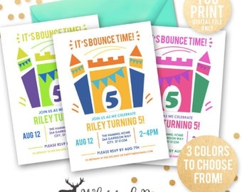 Bounce House Invitation, Bounce House Party Invite, Bounce House Birthday, Bounce Party Invitation,  Kids Birthday, DIGITAL YOU PRINT