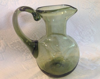 Hand Blown Green Glass Pitcher, Green Glass Creamer, Square Base Pitcher, Bubble Green Glass