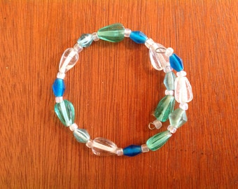 Aqua and teal memory wire beaded bracelet