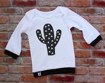 Modern Baby Shirt / Infant lap tee / Infant Shirt / Trendy Baby / Geometric Baby Clothing / Monochrome Baby / Cactus /