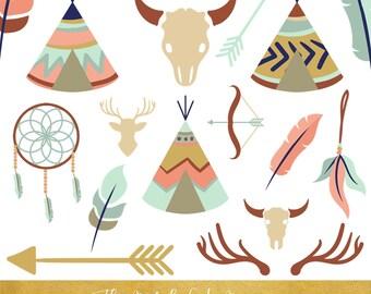 Boho Clipart Set - Tipi Tents, Feathers, Arrows & Skulls - INSTANT DOWNLOAD - 30 .PNG Files