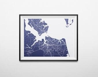 Norfolk, Virginia Beach Metro Area Map, Virginia Hampton Roads Minimalist Abstract Street Map Print