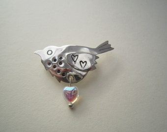 Bird brooch, nesting bird brooch, silver bird brooch, love-bird brooch, hand-made brooch, valentines present, mother's day present