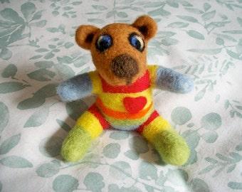 Needle Felted Teddy Bear, FeltWithAHeart, Handmade Wool Bear