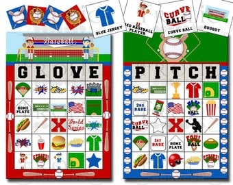 Baseball Bingo 20 Printable Cards INSTANT DOWNLOAD