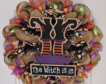 The Witch is In Handmade Halloween Deco Mesh Wreath
