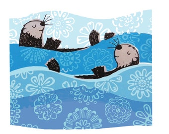 Otters Greetings Card