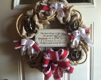 Burlap Rustic Wreath with Rope and Horseshoes.