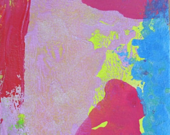 Pink Blue Yellow Abstract Art Watercolor Painting Ink Painting