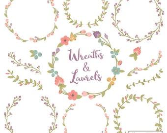 Floral Wreaths & Laurels in Vintage - Vintage Flower Wreath, Vintage Wreath, Wreath Clipart, Laurel Clipart