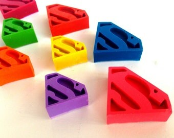 25 Superman Shaped Crayons, Superman Party Favor, Superman Birthday, Superman Valentine, Classroom Valentine, Supergirl, Easter Basket