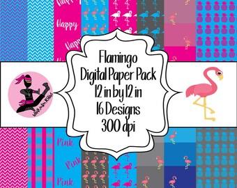 Flamingo Digital Paper Pack- 16 Designs- Instant Download