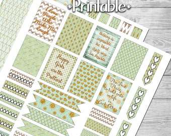 Mint and Gold Planner Sticker Printable- 2 PAGES- Digital File